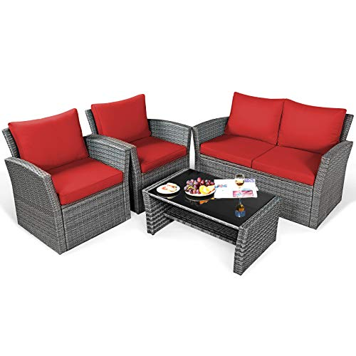 Tangkula 4 Pieces Patio Furniture Set, All Weather Outdoor Sectional Rattan Sofa Set with Cushions & Tempered Glass Table, Wicker Conversation Couch Set for Backyard Garden Poolside Balcony (Red)