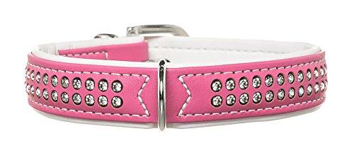 HUNTER MODERN ART DELUXE Hundehalsband, Kunstleder, Strasssteinchen, 40 (S), pink/weiß