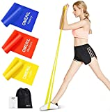 OMERIL Resistance Bands Set, 3 Pack Latex Exercise Bands with 3 Resistance Levels, Elastic Bands with Carrying Pouch for Home Workout, Strength Training, Physical Therapy, Yoga, Pilates