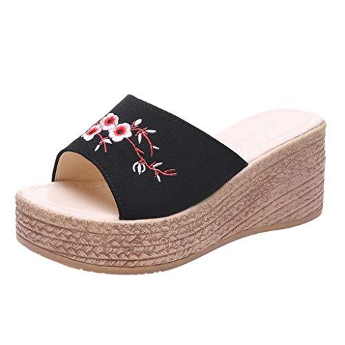 Vectry Mujeres Verano Retro ÉTnico Viento Bordado Flores Cuña Zapatillas Playa Zapatos 2019 Verano Nuevos Zapatos De Mujer