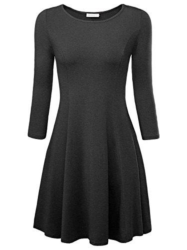 BAISHENGGT Damen Skaterkleid Rundhals 3/4-Arm Fattern Stretch Basic Kleider Dunkelgrau XL