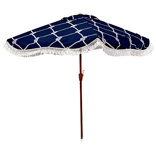 """South Bay Board Co. - Premium Beach Umbrella - Extra Large (6'6"""" x 6'6"""") for Complete Shade Coverage for 2 People -with XL Wind Vent, Stainless Metal Parts, and an Easy Crank Lift -Includes Carry Bag"""