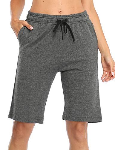 Safort 25,4 cm / 12,7 cm Bermudas activas para Mujer 100% algodón 3 Bolsillos Pijama Lounge Essential Shorts Largos Casual - Gris Oscuro - XL