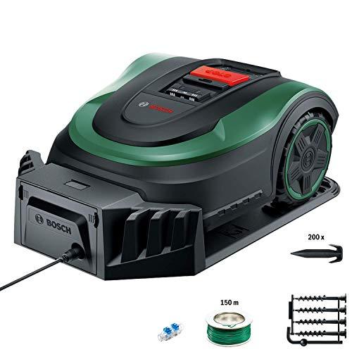 Bosch Lawn and Garden Indego S+ 500 Robot cortacésped, con batería sustituible de 18V y función de aplicación, base de carga incluida, ancho de corte de 19cm