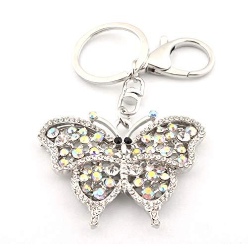 Quadiva Bag Charm Schmetterling Taschenanhänger für Damen (Farbe: Silber) mit Kristallen und Perlen besetzt