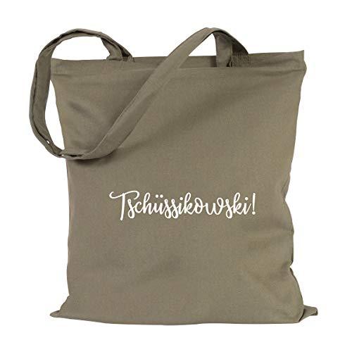 JUNIWORDS Jutebeutel, Wähle ein Motiv & Farbe, Tschüssikowski! (Beutel: Khaki, Text: Weiß)