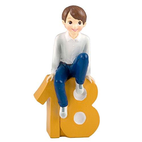 mopec Figuur Cake Jongen met Shirt, Polyresin, Geel, 8 x 13 x 23,5 cm