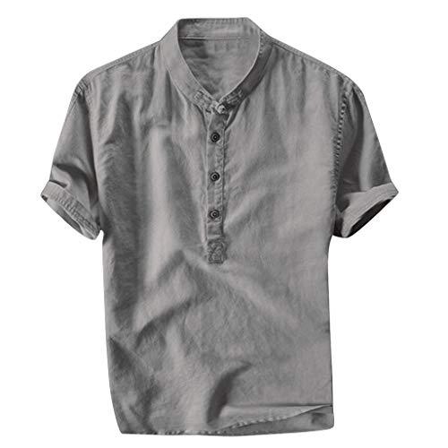 Xmiral Herren Leinenhemd leinen Shirt Kurzarm Hemden mit Stehkragen Kurze Knopfleiste Slim fit für Männer(Grau,XL)