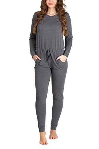 maluuna Damen Jumpsuit mit Bündchen an Arm- und Beinabschluss und Kordelzug, Größe:40/42, Farbe:anthrazit-Melange - 6