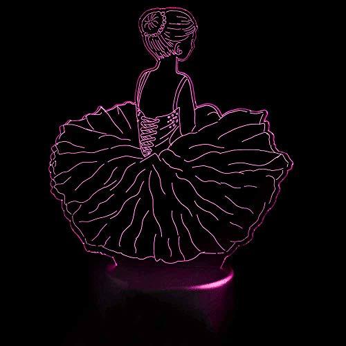 3D Led Decoración de Dormitorio Luces nocturnas USB Falda de Baile Lámpara de Mesa Bebé Dormir Ballet Visual Niñas Modelado Accesorios de luz Regalos para niños