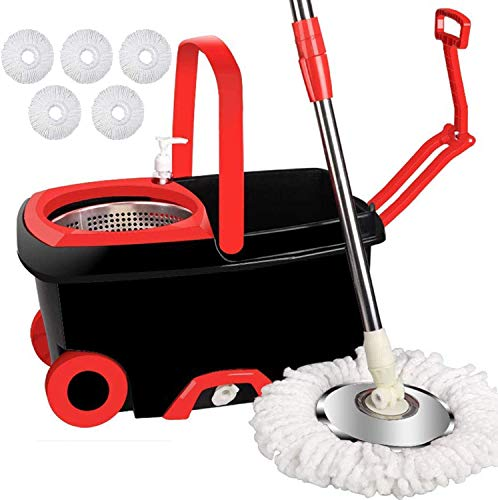 Jar-Owl Spin Mop Bucket Floor Cleaning System with 5 Microfiber Replacement Mop Head Refills, 360 Spinning Mop Bucket with Wringer on Wheels, 61'' Handle, Mop with Bucket for Home Commercial Cleaning