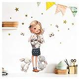 Little Deco Wandtattoo Kinderzimmer Mädchen mit Hase I (BxH) 46 x 32 cm I Wandaufkleber Sterne Wandsticker Blumen Aufkleber Tiere Baby DL211-1