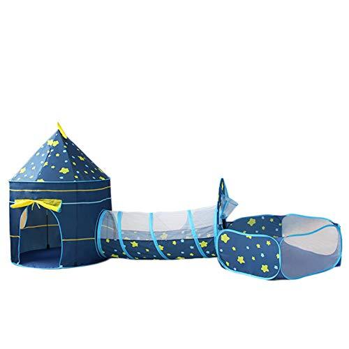 tents Carpas Emergentes, Carpas De Juego 3 En 1 para Niños Indios, Casa De Juegos Yurta Tipi (Carpa De Juegos para Niños, Piscina De Bolas De Túnel)(Color:Azul)