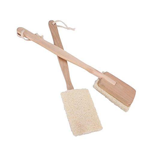 Pixnor de bain corps brosse de douche Spa Naturel – Brosse à dos à long manche Loofah – Lot de 2