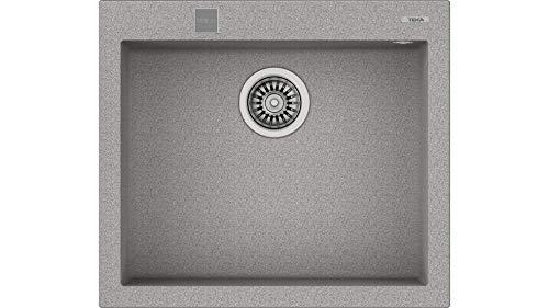Teka 115230006 - Fregadero de cocina hecho de granito (granito) con un solo cuenco Forsquare 50,40 TG gris-115230006, color gris piedra
