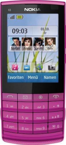 Nokia X3-02.5 Handy (6,1 cm (2,4 Zoll) Bildschirm, 5 Megapixel Kamera, Touch and Type) rosa
