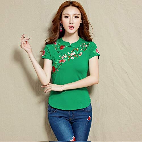 2020 zomer nieuwe nationale wind geborduurd katoen korte mouwen t-shirt grote werven vrouwelijke Chinese kostuum geborduurde blouses merk: QWERTY (Kleur: groen, Maat : 3XL)