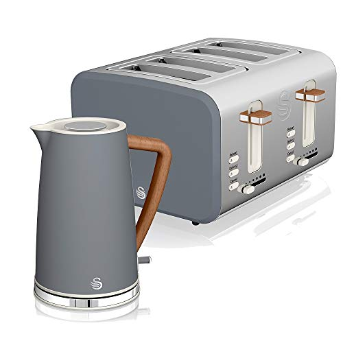 Swan Nordic Set Desayuno Hervidor de agua inalámbrico 1,7L 2200W, Tostadora Pan ranura ancha 4 rebanadas, 3 funciones, diseño moderno, efecto madera, gris