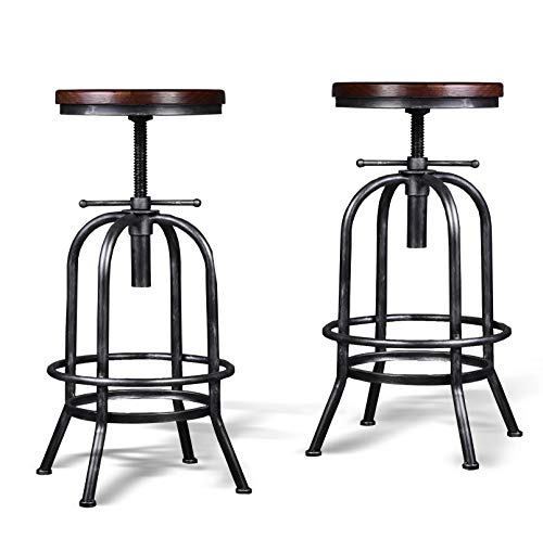 Industrial Bar Stool-26-32 Inch Adjustable Swivel Metal Wood Stool-Set of 2-Counter Height Bar Stool with Footrest-for Kitchen,Dining Side Chair,Pub,Bistro