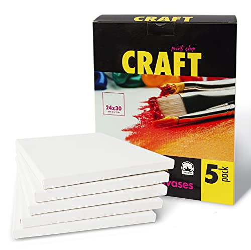Craft Print Gerahmte 24x30 cm Blanco Leinwände mit Abgerundetem Keilrahmen (24x30 cm) Hergestellt aus 100% Baumwolle zum Bemalen im Fünferpack inklusive 3 Malpinsel (Nr. 0,...