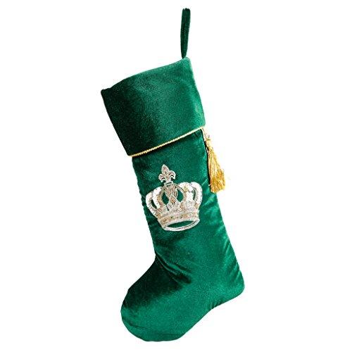 Calza di Natale verde smeraldo velluto di lusso con corona reale e Twisted nappa oro ricamo. Questo stravagante calza è un regalo perfetto per aggiungere piccoli regali per la persona amata o aggiungere natalizi Merry Cheer al tuo corridoio, scale, caminetto o camino. Lunghezza 49cm x larghezza 16cm