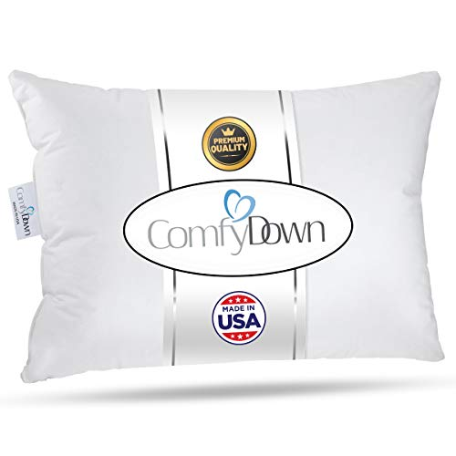 """ComfyDown Travel Pillow - 800 Fill Power European Goose Down Pillow for Plane, Car & Home - Egyptian 300 TC Cotton Cover - Made in USA - 12""""x16"""""""