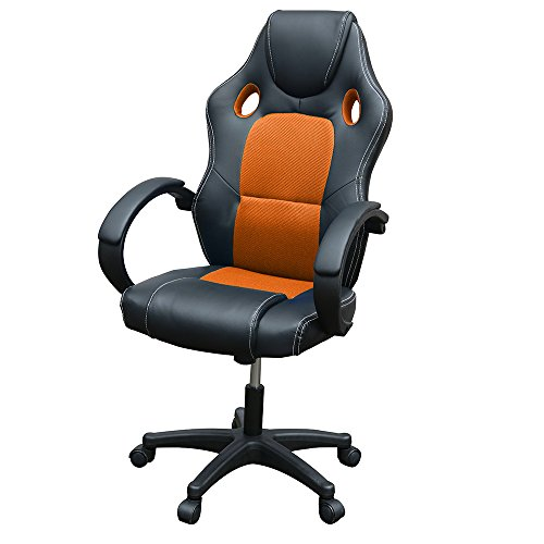 Gaming Chair, Racing Style Office High Back Ergonomic Conference Work Chair Reclining Computer PC Swivel Desk Chair with Lumbar Support&Adjustable Task Gas lift PU Leather (Orange)
