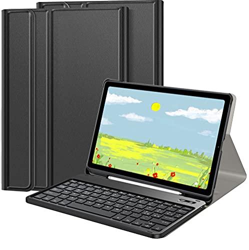 IVSOTEC Custodia con Tastiera per Samsung Galaxy Tab S6 Lite 10.4 Pollici (SM-P610/ P615) 2020,Slim Cover con Rimovibile Magnetica Wireless Bluetooth Tastiera,Nero