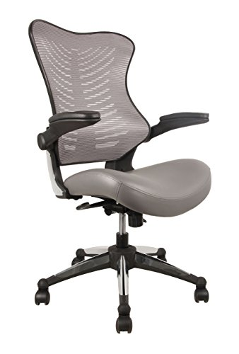 OFFICE FACTOR Executive Ergonomic Office Chair Gray Back Mesh Bonded Leather Seat Flip up Armrest Molded Seat with a 55kg Foam Density Double Handle Mechanism You Can Lock The Back in Any Position chair gaming gray