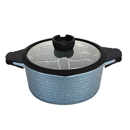 Ressetto Freidoras de aluminio fundido con recubrimiento antiadherente,Olla 2 en 1 con cesta y tapa de cristal,Gris perla-24cm,aptos para lavavajillas y todos tipos de Cocinas Incluso Inducción