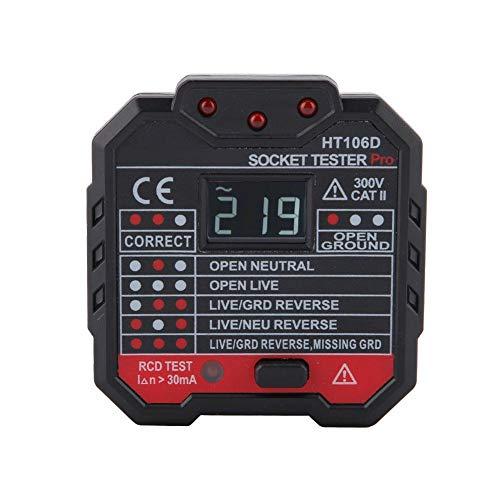 Steckdosentester mit LCD Spannungsanzeige GFCI Outlet Tester 48-250V Automatisch Stromkreis Polaritäts Spannungsprüfer Wandstecker Unterbrecher Sucher Lecktest TA106B(HT106D)