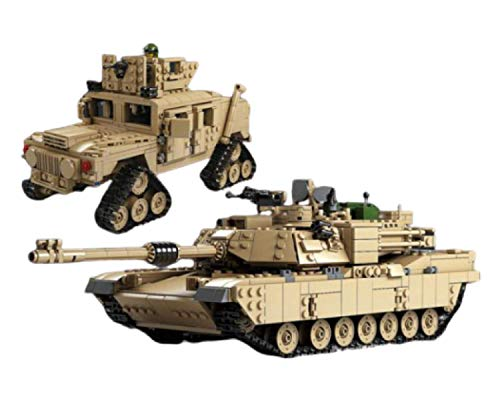 General Jim's Army Toys - WW2 Tank Building Kit - WW2 2 in 1 US M1A2 Army Tank Vehicle & Hummer Bricks Toys Military Building Blocks WW2 Set for Adults & Kids