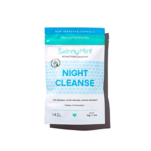 SkinnyMint Night Cleanse Teatox. All-Natural and Effective Detox Tea. Help Reduce Bloating and Restore Digestive Balance. Support Relaxation.
