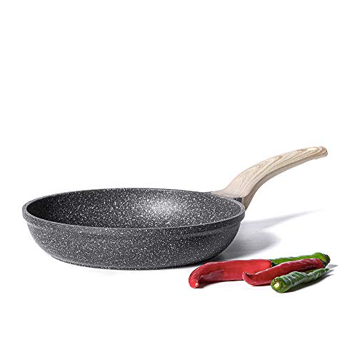 Carote Frying Pan Skillet Non-Stick Granite Stone Coating from Switzerland, Black (10-inch)