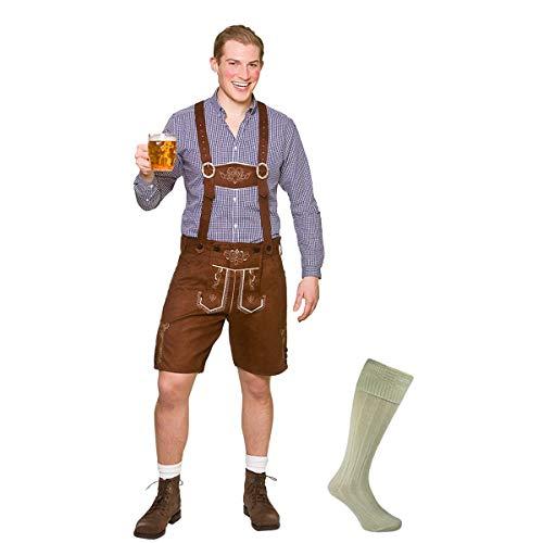 "Adult Mens Authentic Lederhosen Oktoberfest COSTUME + SOCKS Bavarian Fancy Dress One Size: (44"" Chest; 36-41"" Waist) STANDARD"