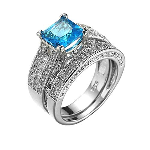 Bishilin Verlobung Ringe für Frauen Versilbert, Eheringe Vintage Stapelringe Hellblau Zirkonia Hochzeit Ring Trauringe Silber Gr.54 (17.2)