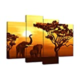 iHAPPYWALL 4 Panel Elephant Family Canvas Wall Art African Elephant with Sunset Forest Landscape Animal Artwork For Living Room Home Decor Stretched and Framed Ready to Hang