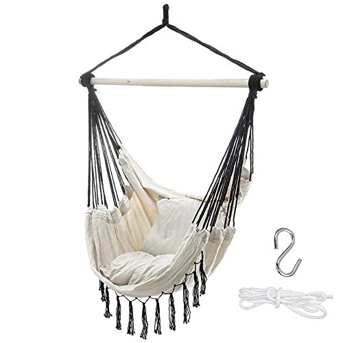 Massage-AED Hängeschaukel Garten,100 X 130 cm Hausgarten Hängemattenstuhl Quaste Design Outdoor Indoor Schlafsaal Schaukel Hängesessel