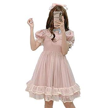 Summer Japanese Lolita Lace Dress Teen Girls Soft Cute Ruffles A-Line Princess Party Dresses  M  Pink
