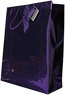 JAM PAPER Gift Bags with Rope Handles - Diagonal Pinstripe Shopping Bags - XXX Large - 17 x 21 x 6 1/4 - Purple Foil - Sold Individually