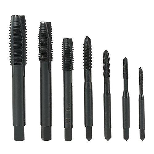 KKmoon Nitride High Speed Steel HSS6542 Spiral Pointed Tap Machine Hand Screw Thread Taps Set Thread Metric Plug Tap Drill Bits 7PCS M3 M4 M5 M6 M8 M10 M12