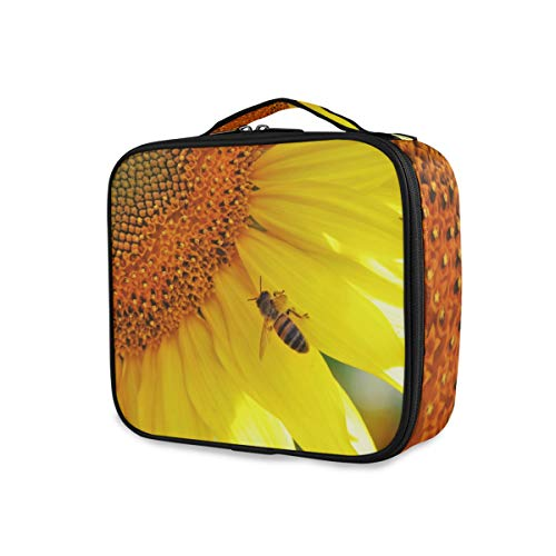 Sunflowers Bees Sac de Maquillage Professionnel pour Femme Motif Abeilles Jaune Helianthus