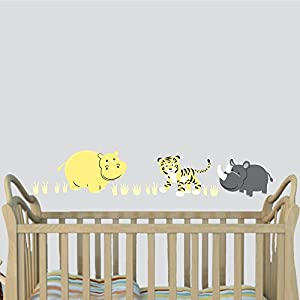 crib bedding and baby bedding hippo wall decal, baby room decor, yellow gray décor for nursery