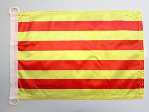AZ FLAG Bandera Nautica de CATALUÑA 45x30cm - Pabellón de conveniencia CATALANA - Catalunya 30 x 45 cm Anillos