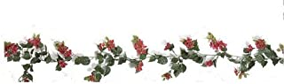 Outdoor Artificial Bougainvillea Vines - 9.5' Garland - Red Flowers
