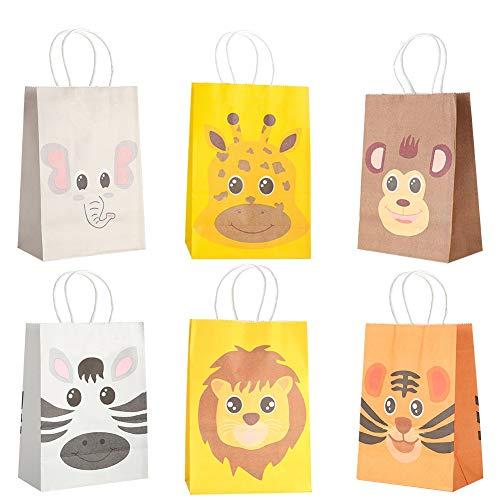 Phoetya Partytaschen für Kinder Party, 12er Pack Dschungeltiere Partybevorzugungstaschen Kids Party Geschenktüten Geburtstagsgeschenk Goody Bags für Pralinen, Süßigkeiten, Geschenke, Leckereien