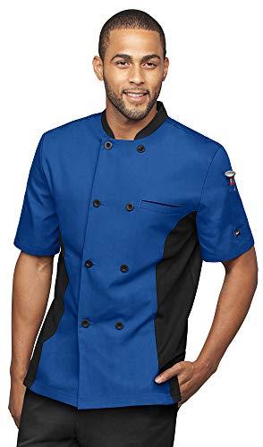 Mens Short Sleeve Chef Coat Mesh Side Panels (XXX-Large, Royal/Black)
