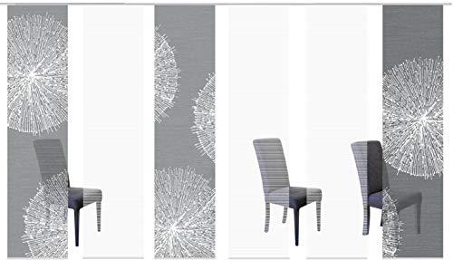 Vision S 96557-0307 | 6er-Set Schiebegardine Creston | halb-transparenter Stoff in Bambus-Optik | 6X 260x60 cm | Farbe: Grau