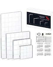 مجموعة قوالب طوابع أكريليك من 5 قطع، مكعبات أكريليك للأطوابع مع خطوط شبكية و 1 ورقة شفافة من السيليكون لتنظيم أدوات صنع بطاقات القصاصات
