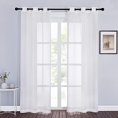 NICETOWN Genomskinliga gardiner för fönster 84 tum längd – ring topp voile texturerade mjuka lätta gardiner och draperier eleganta för sovrum/kök/vardagsrum, elfenben, 2 paneler=74 tum W